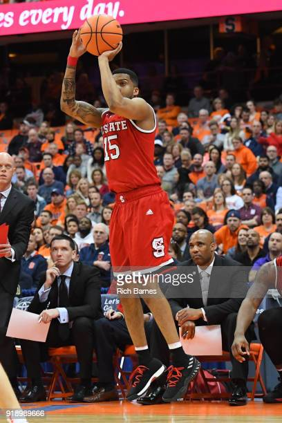 Sam Hunt of the North Carolina State Wolfpack shoots the ball against the Syracuse Orange during the second half at the Carrier Dome on February 14...