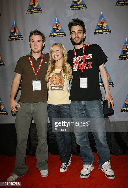 """Sam Huntington, Kristen Bell and Jay Baruchel during """"Star Wars"""" Celebration IV - Day 4 at Los Angeles Convention Center in Los Angeles, California,..."""