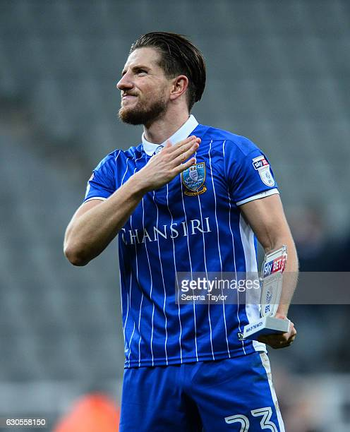Sam Hutchinson of Sheffield Wednesday celebrates after receiving the man of the match award after Sheffield winning the Sky Bet Championship match...