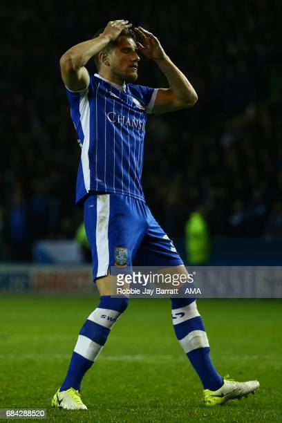 Sam Hutchinson of Sheffield Wednesday reacts after missing a penalty during the Sky Bet Championship match between Sheffield Wednesday and...