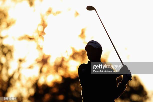 Sam Hutsby of England hits his tee shot on the 9th hole during Round 3 of the European Tour Qualifying School Final at the PGA Catalunya Resort Golf...