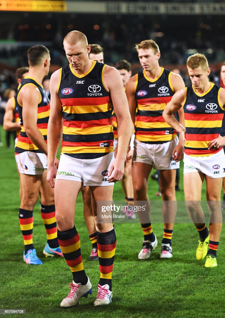 Sam Jacobs of the Adelaide Crows after the game heads down the race during the round eight AFL match between the Port Adelaide Power and the Adelaide Crows at Adelaide Oval on May 12, 2018 in Adelaide, Australia.