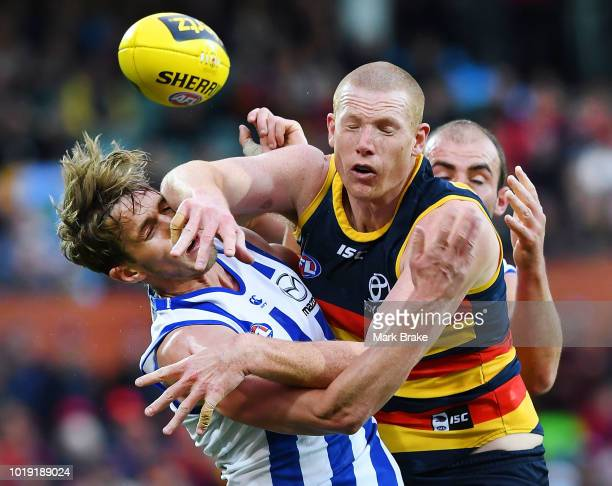 Sam Jacobs of the Adelaide Crows competes with Trent Dumont of the Kangaroos during the round 22 AFL match between the Adelaide Crows and North...