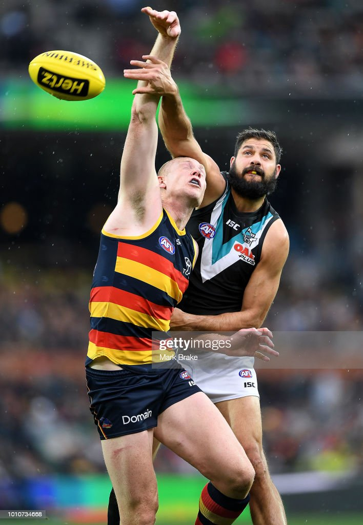 Sam Jacobs of the Adelaide Crows rucks against Paddy Ryder of Port Adelaide during the round 20 AFL match between the Adelaide Crows and the Port Adelaide Power at Adelaide Oval on August 4, 2018 in Adelaide, Australia.