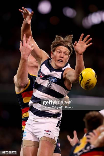 Sam Jacobs of the Crows competes with Rhys Stanley of the Cats during the 2018 AFL round 17 match between the Adelaide Crows and the Geelong Cats at...