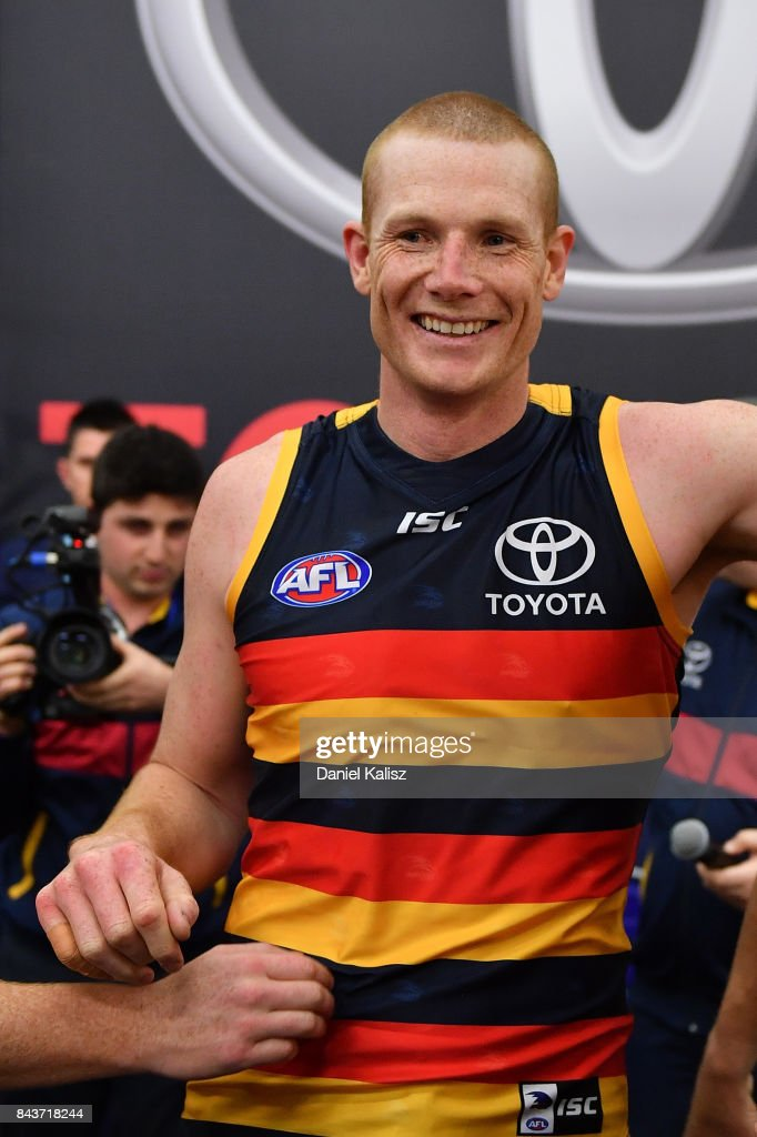 Sam Jacobs of the Crows sings the club song after the AFL First Qualifying Final match between the Adelaide Crows and the Greater Western Sydney Giants at Adelaide Oval on September 7, 2017 in Adelaide, Australia.