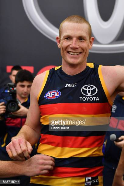 Sam Jacobs of the Crows sings the club song after the AFL First Qualifying Final match between the Adelaide Crows and the Greater Western Sydney...