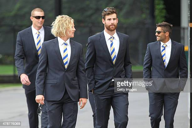 Sam Jacobs Rory Sloane Andy Otten and Jared Petrenko of the Adelaide Crows during the Dean Bailey public memorial service at Adelaide Oval on March...