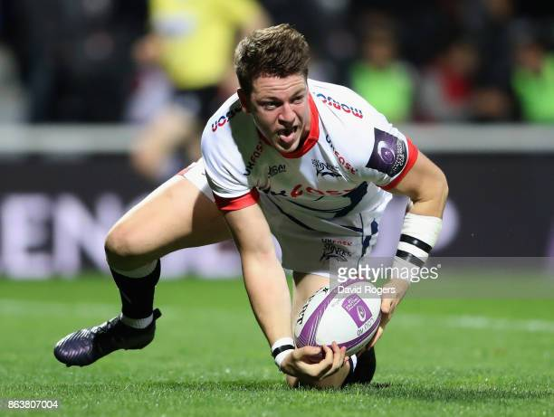 Sam James of Sale scores their second try during the European Rugby Challenge Cup match between Lyon and Sale Sharks at Matmut Stade de Gerland on...