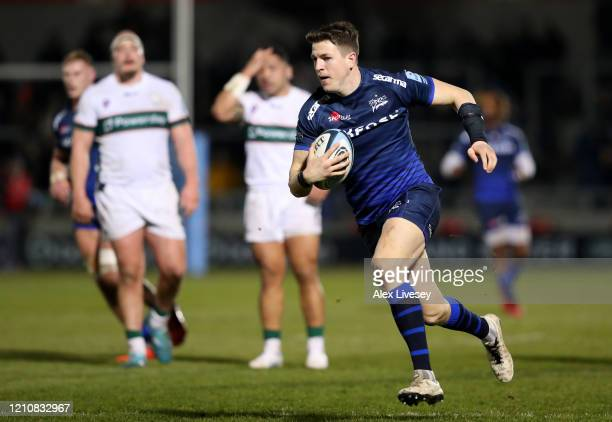 Sam James of Sale Sharks breaks through to score his sides first try during the Gallagher Premiership Rugby match between Sale Sharks and London...
