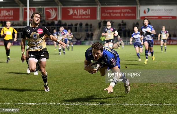 Sam James of Sale Sharks goes over for a second try during the European Rugby Challenge Cup Quarter Final match between Sale Sharks and Montpellier...