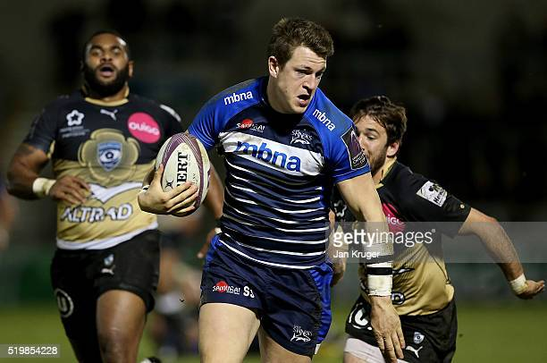 Sam James of Sale Sharks sprints to the tryline for his try during the European Rugby Challenge Cup Quarter Final match between Sale Sharks and...