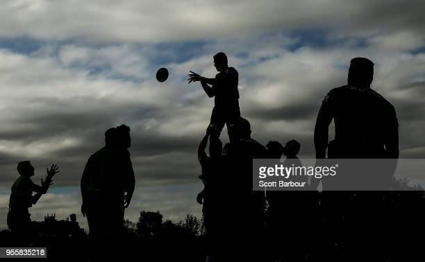 Sam Jeffries of the Rebels wins the ball in a lineout during a Melbourne Rebels Super Rugby training session at Gosch's Paddock on May 8 2018 in...