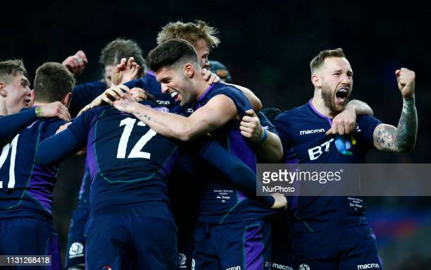 Sam Johnson of Scotland celebrate his Try during the Guinness 6 Nations Rugby match between England and Scotland at Twickenham stadium in Twickenham...