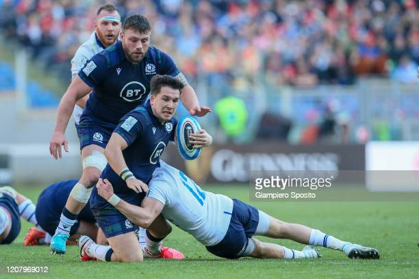 Sam Johnson of Scotland in action during the 2020 Guinness Six Nations match between Italy and Scotland at Stadio Olimpico on February 22 2020 in...