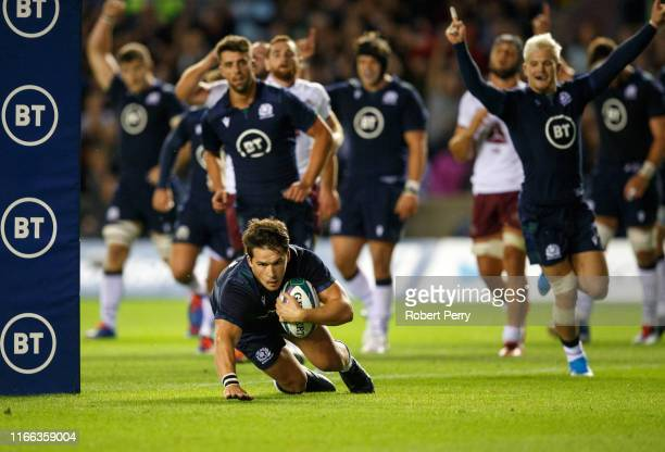 Sam Johnson of Scotland scores try during the international match between Scotland and Georgia at Murrayfield on September 6 2019 in Edinburgh United...