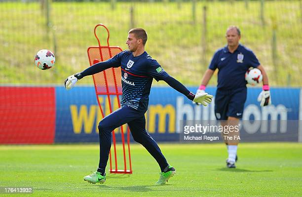 Sam Johnstone in action during the England U21 training session at St Georges Park on August 12, 2013 in Burton-upon-Trent, England.