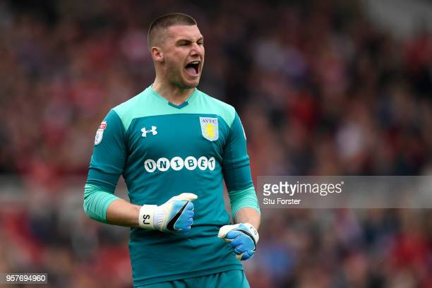 Sam Johnstone of Aston Villa celebrates after his sides first goal during the Sky Bet Championship Play Off Semi Final:First Leg match between...