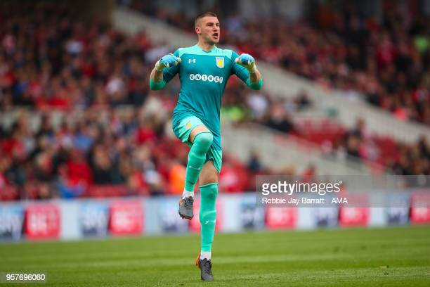 Sam Johnstone of Aston Villa celebrates the first goal during the Sky Bet Championship Play Off Semi Final First Leg match between Middlesbrough and...