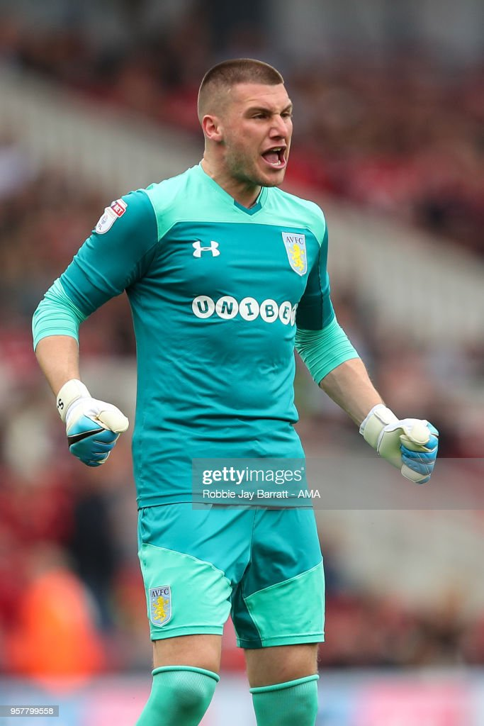Sam Johnstone of Aston Villa celebrates the first goal during the Sky Bet Championship Play Off Semi Final First Leg match between Middlesbrough and Aston Villa at Riverside Stadium on May 12, 2018 in Middlesbrough, England.