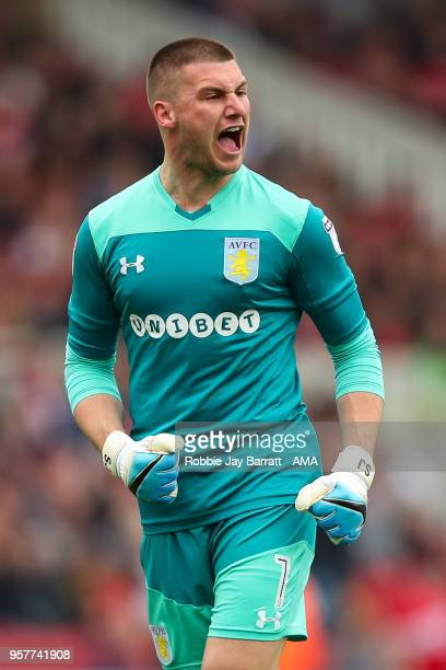 Sam Johnstone of Aston Villa celebrates the fist goal during the Sky Bet Championship Play Off Semi Final First Leg match between Middlesbrough and...