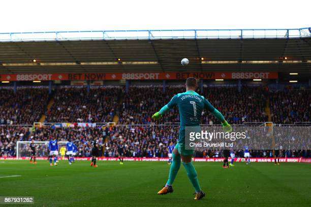 Sam Johnstone of Aston Villa clears the ball upfield during the Sky Bet Championship match between Birmingham City and Aston Villa at St Andrews on...