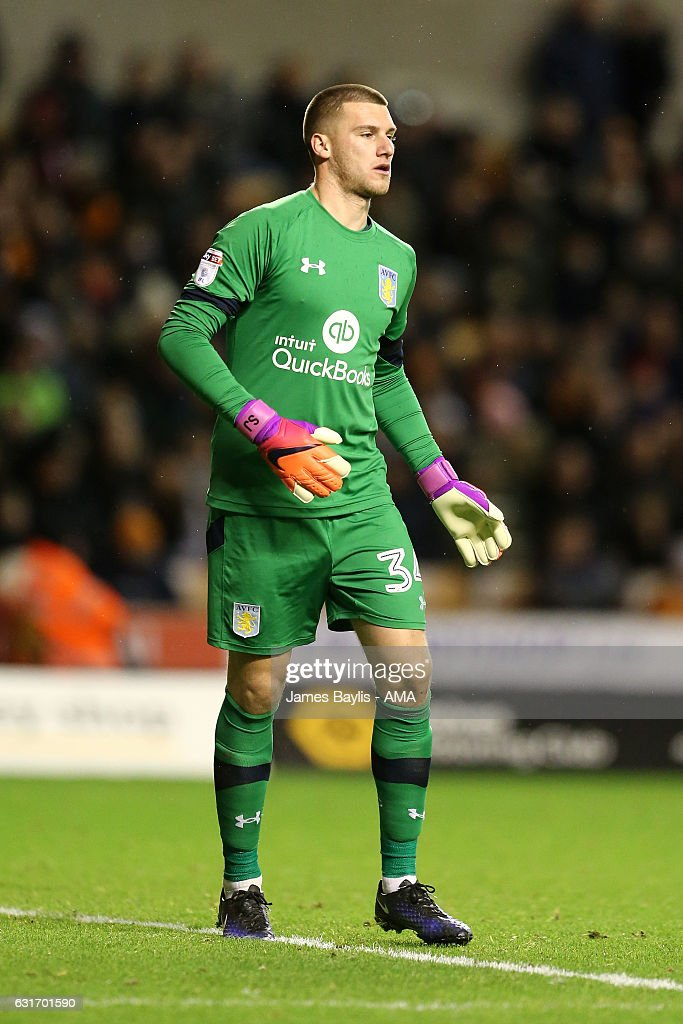 Sam Johnstone of Aston Villa during the Sky Bet Championship match between Wolverhampton Wanderers and Aston Villa at Molineux on January 14, 2017 in Wolverhampton, England.
