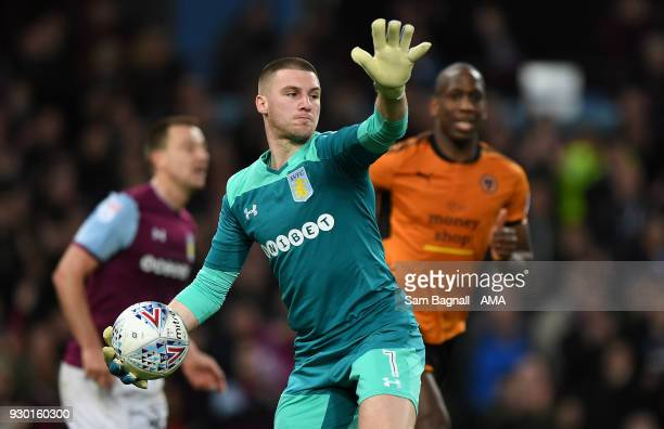 Sam Johnstone of Aston Villa during the Sky Bet Championship match between Aston Villa and Wolverhampton Wanderers at Villa Park on March 10 2018 in...