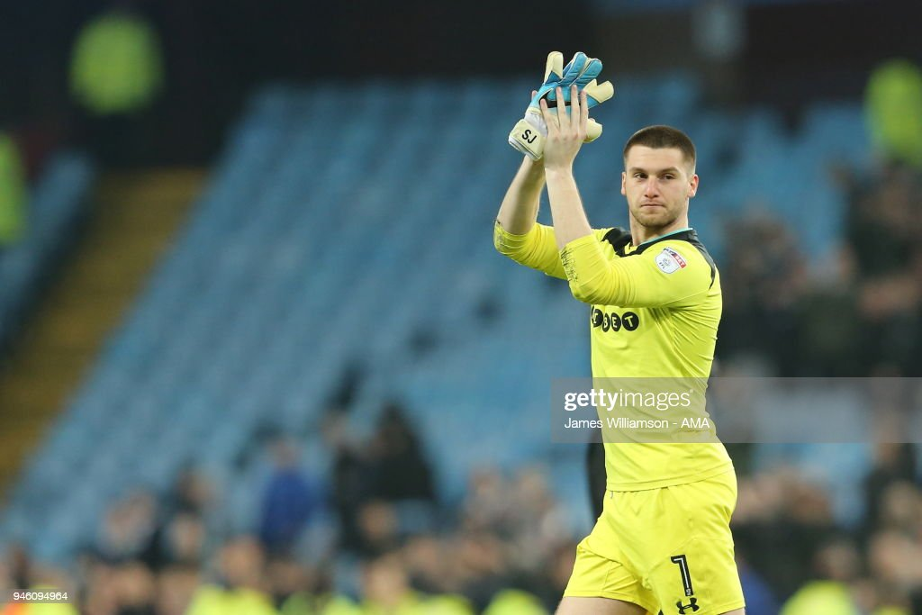 Sam Johnstone of Aston Villa during the Sky Bet Championship match between Aston Villa and Leeds United at Villa Park on April 13, 2018 in Birmingham, England.