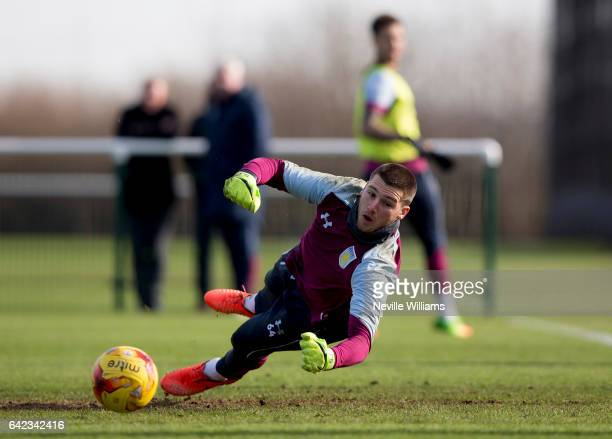 Sam Johnstone of Aston Villa in action during a Aston Villa training session at the club's training ground at Bodymoor Heath on February 17 2017 in...