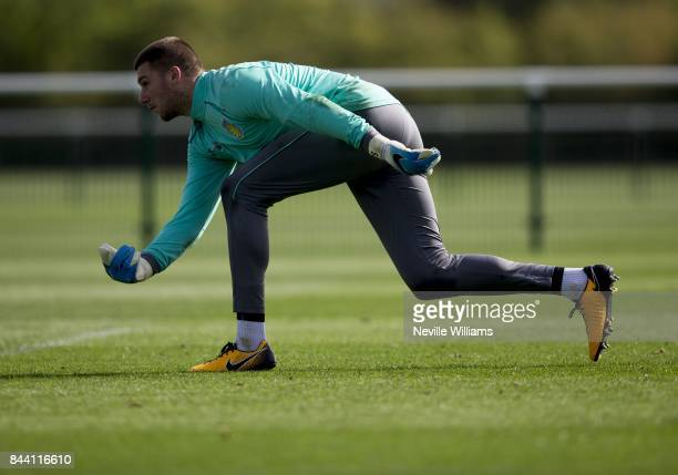 Sam Johnstone of Aston Villa in action during a training session at the club's training ground at Bodymoor Heath on September 08 2017 in Birmingham...