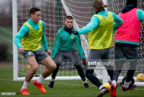 Sam Johnstone of Aston Villa in action during a training session at the club's training ground at Bodymoor Heath on December 22 2017 in Birmingham...