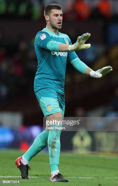 Sam Johnstone of Aston Villa issues instructions during the Sky Bet Championship match between Aston Villa and Bristol City at Villa Park on January...