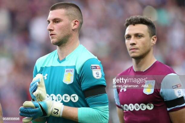 Sam Johnstone of Aston Villa wearing a black armband in tribute to Jlloyd Samuel during the Sky Bet Championship Play Off Semi FinalSecond Leg match...