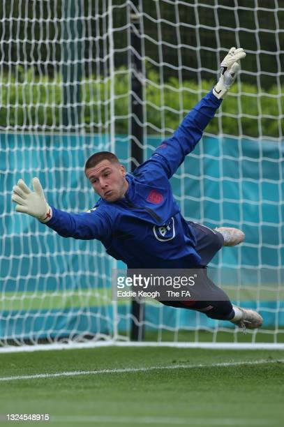 Sam Johnstone of England in action during the England Training Session at Tottenham Hotspur Training Ground on June 20, 2021 in Burton upon Trent,...