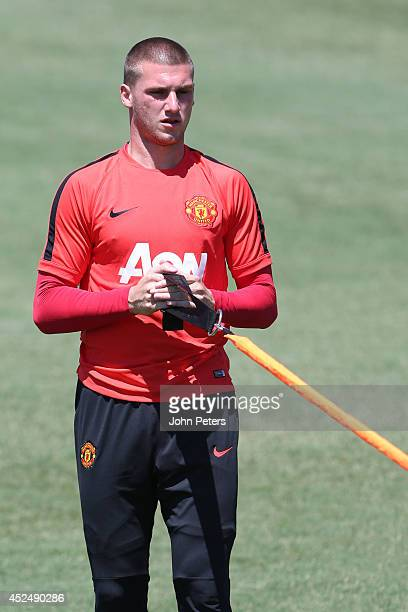 Sam Johnstone of Manchester United in action during a first team training session as part of their preseason tour of the United States on July 21...