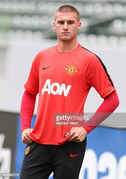 Sam Johnstone of Manchester United in action during a training session as part of their preseason tour of the United States on July 19 2014 in Los...