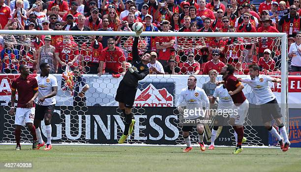 Sam Johnstone of Manchester United in action during the preseason friendly match between Manchester United and AS Roma at Sports Authority Field at...