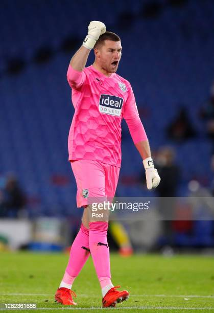 Sam Johnstone of West Bromwich Albion celebrates their first goal during the Premier League match between Brighton & Hove Albion and West Bromwich...