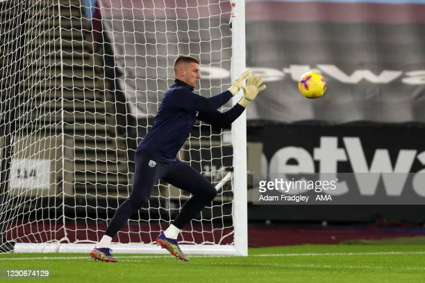 Sam Johnstone of West Bromwich Albion during the pre-match warm up ahead of the Premier League match between West Ham United and West Bromwich Albion...