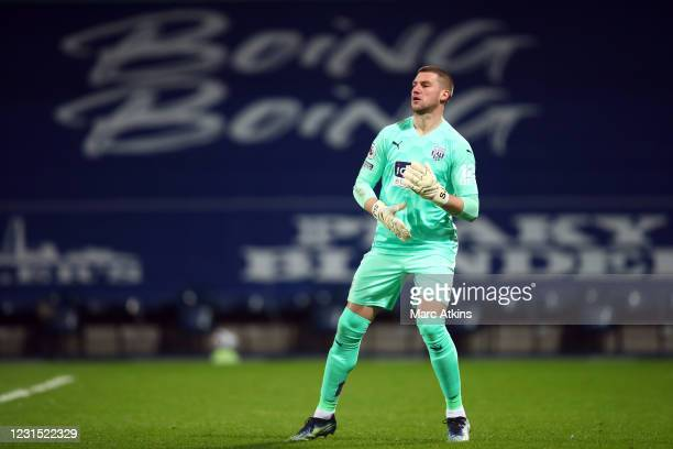 Sam Johnstone of West Bromwich Albion during the Premier League match between West Bromwich Albion and Everton at The Hawthorns on March 4, 2021 in...