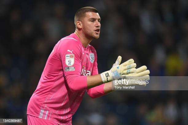 Sam Johnstone of West Bromwich Albion during the Sky Bet Championship match between West Bromwich Albion and Derby County at The Hawthorns on...