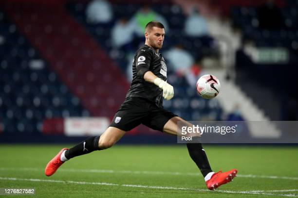 Sam Johnstone of West Bromwich Albion in action during the Premier League match between West Bromwich Albion and Chelsea at The Hawthorns on...