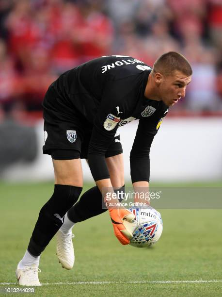 Sam Johnstone of West Bromwich Albion in action during the Sky Bet Championship match between Nottingham Forest and West Bromwich Albion at City...