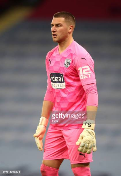 Sam Johnstone of West Bromwich Albion looks on during the Premier League match between Manchester City and West Bromwich Albion at Etihad Stadium on...