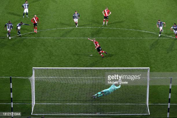 Sam Johnstone of West Bromwich Albion saves a penalty from James Ward-Prowse of Southampton during the Premier League match between West Bromwich...