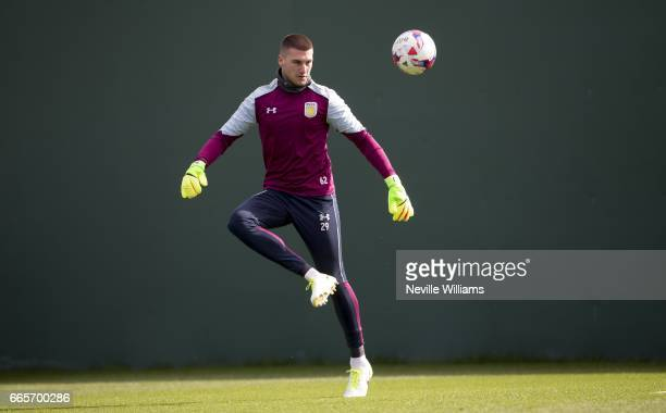 Sam Johntstone of Aston Villa in action during a Aston Villa training session at the club's training ground at Bodymoor Heath on April 07 2017 in...