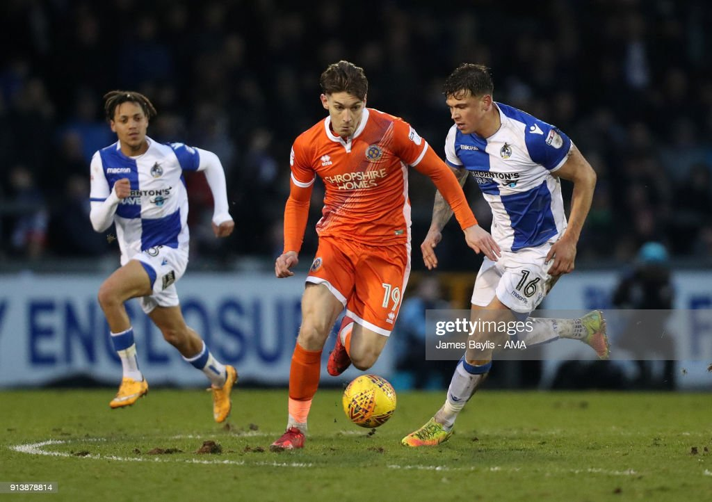 Sam Jones of Shrewsbury Town and Tom Broadbent of Bristol Rovers during the Sky Bet League One match between Bristol Rovers and Shrewsbury Town at Memorial Stadium on February 3, 2018 in Bristol, England.
