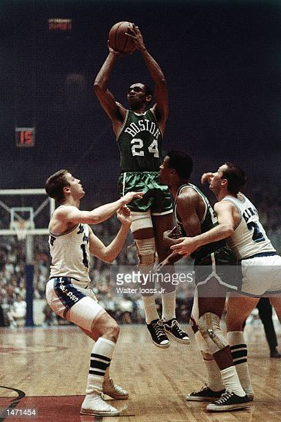 Sam jones of the Boston Celtics shoots a jumpshot against the Los Angeles Lakers in Los Angeles California NOTE TO USER User expressly acknowledges...