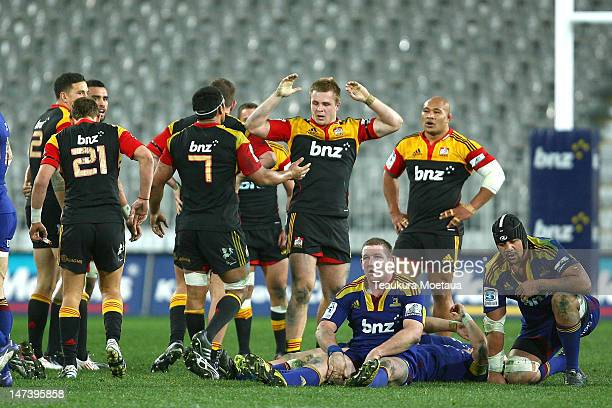 Sam Kane of the Chiefs celebrates during the round 16 Super Rugby match between the Highlanders and the Chiefs at Forsyth Barr Stadium on June 29...